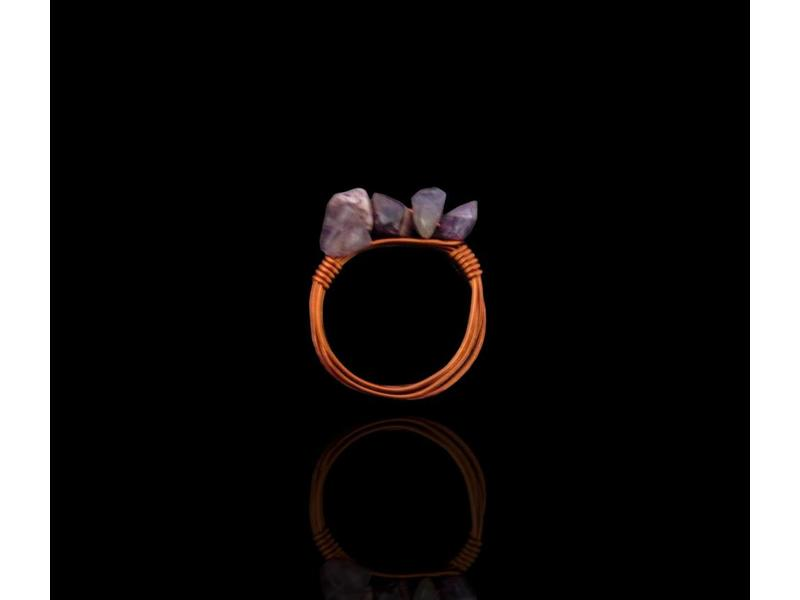STACKABLE COPPER RING WITH GEMSTONES