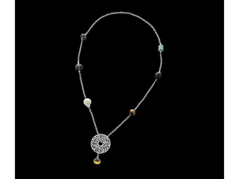 LONG CHAIN NECKLACE WITH MEDIUM DISC AND MIXED GEMSTONES