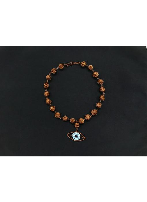 MEDIUM COPPER BEAD NECKLACE WITH COPPER EYE