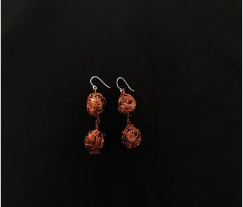 LARGE COPPER BEAD EARRINGS 2 TIER