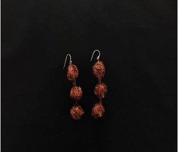 LARGE COPPER BEAD EARRINGS 3 TIER