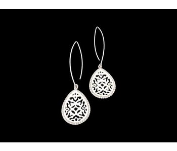 OVAL HOOK EARRINGS WITH CARVED MOTHER OF PEARL AND SWAROWSKI CRYSTAL BORDER