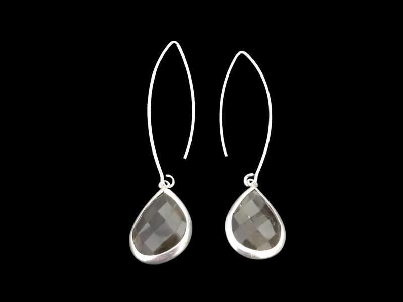 OVAL HOOK EARRINGS WITH TEAR DROP GEMSTONE, WITH SILVER BORDER