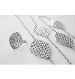 GEOMETRY SILVER LONG CHAIN NECKLACE X6