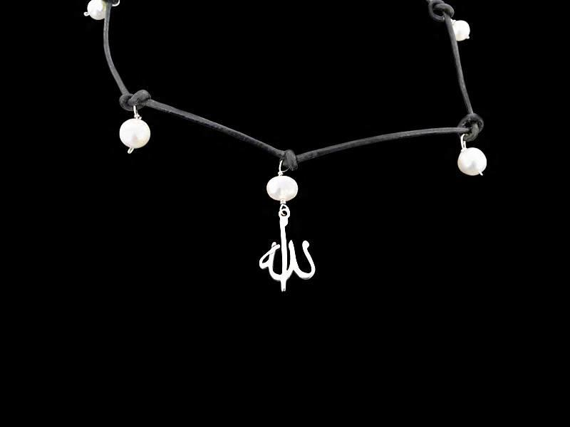 KNOTTED LEATHER NECKLACE W/ PEARLS & ALLAH