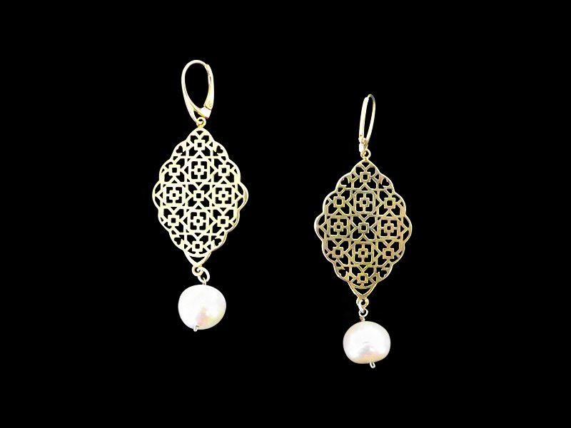 GEO GP EARRINGS WITH FRENCH HOOK AND BAROQUE PEARL DROP