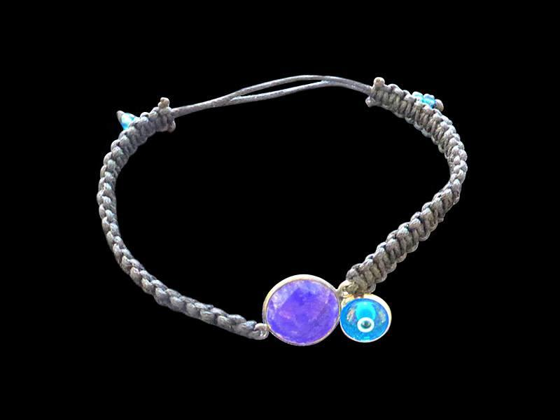 CORD BRACELET WITH GEMSTONE AND EYE