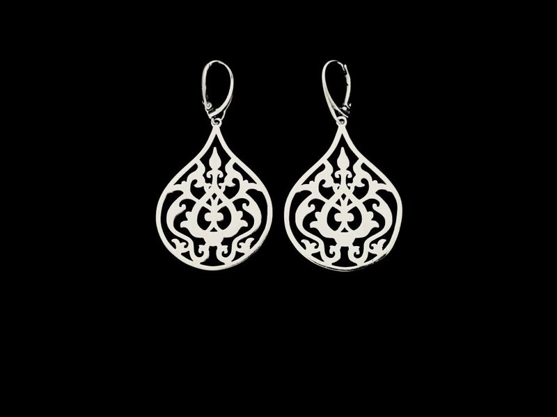 SILVER ARABESQUE LARGE, FRENCH CLASP