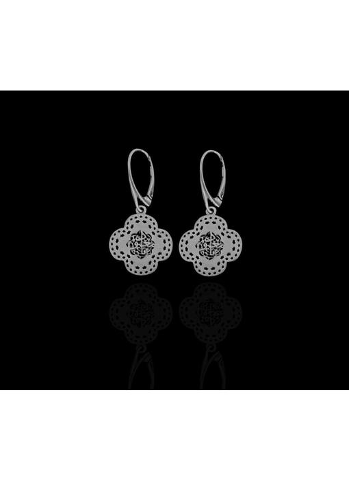 SMALL SILVER CLOVER EARRINGS WITH FRENCH HOOK