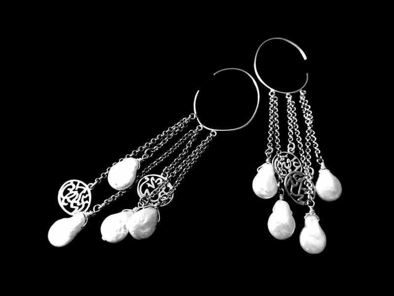 HOOP EARRINGS WITH A SHOWER OF CHAINS WITH PEARLS AND NIMA AFIA