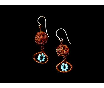 ONE COPPER BEAD EARRINGS WITH EYE