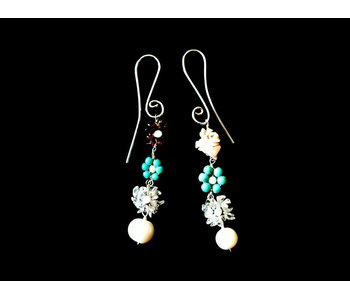 S CURVE EARRINGS WITH GEMSTONE FLOWERS