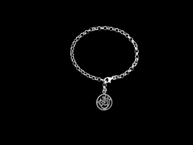 SILVER STRING CHAIN BRACELET WITH SILVER SALAM WORD