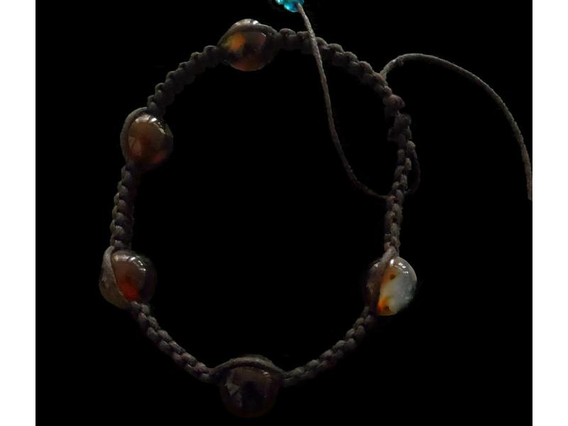 ROUND AGATE ON WOVEN CORD BRACELET