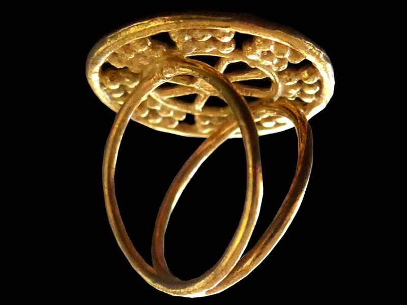 ASSYRIAN WHEEL OF FORTUNE RING GOLD PLATED