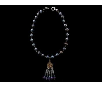 PEARL NECKLACE WITH GP ARABESQUE AND GEMSTONE TASSELS