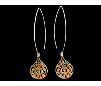 LONG OVAL HOOK EARRINGS WITH GP ARABESQUE MOTIF