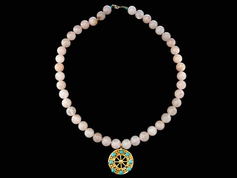 STONE NECKLACE WITH ASSYRIAN WHEEL OF FORTUNE AND STONES