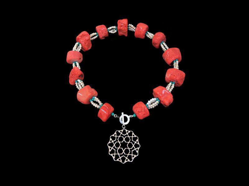 CORAL & PEARLS WITH A CORDOBA PENDANT