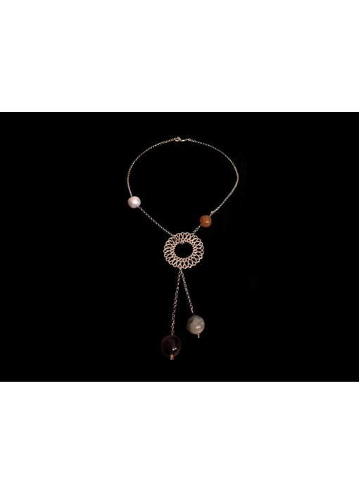 ASYMMETRY KARMA NECKLACE WITH 5 STONES