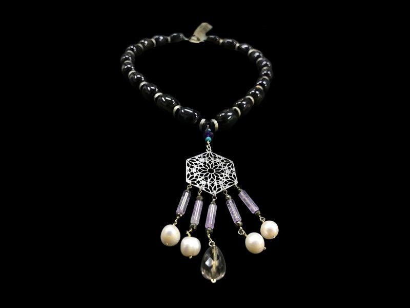 LARGE GEMSTONES WITH SMALL HEXAGON AND TASSELS
