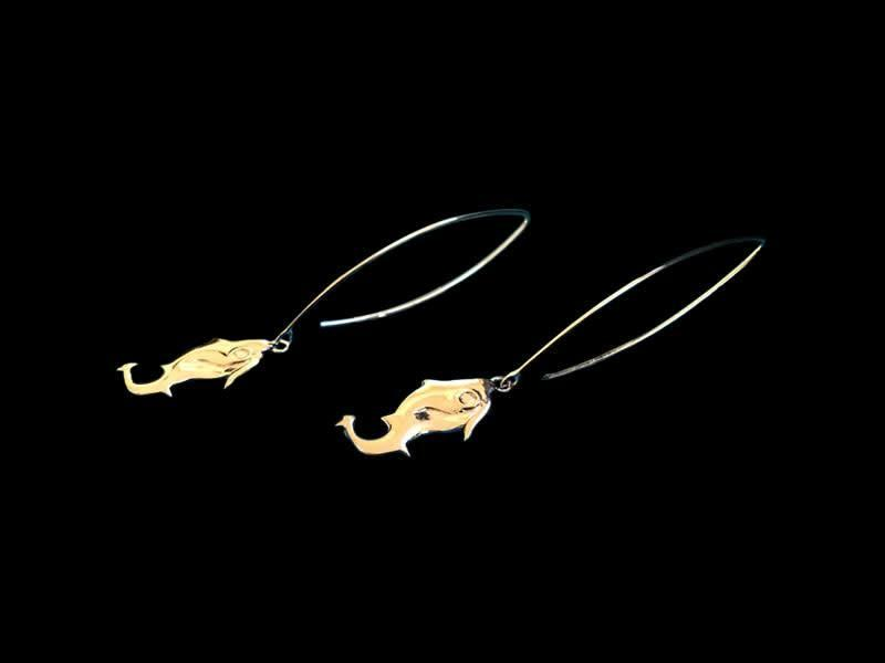 LONG OVAL HOOK EARRINGS WITH JERASH FISH