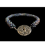 PEARL CROCHET NECKLACE WITH DISC CLASP