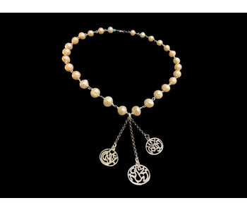 PEARL NECKLACE WITH CHAIN TASSEL AND NIMA AFIA SILVER