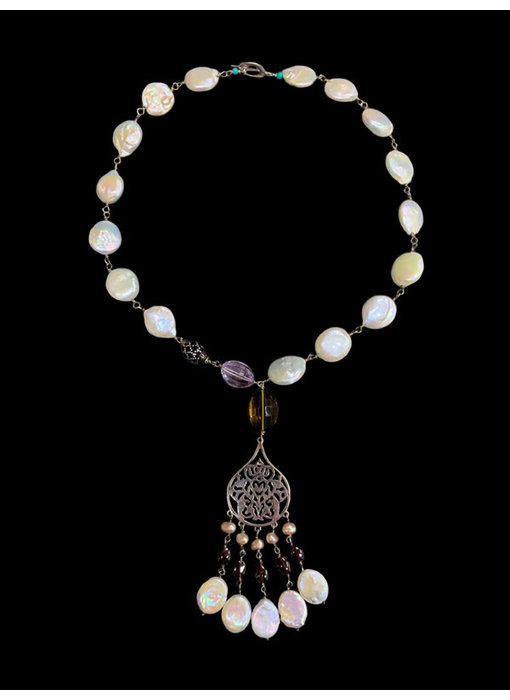 ARABESQUE NKL W LARGE PEARLS AND HAND CUT GEMSTONES