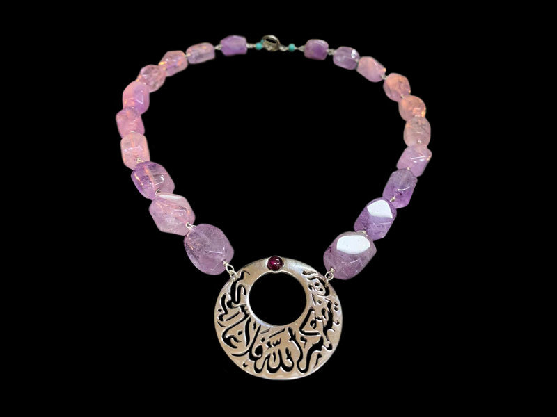 GEMSTONES WITH CRESCENT PENDANT