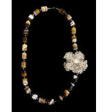 GEMSTONE NECKLACE WITH LARGE CRYSTAL FLOWER