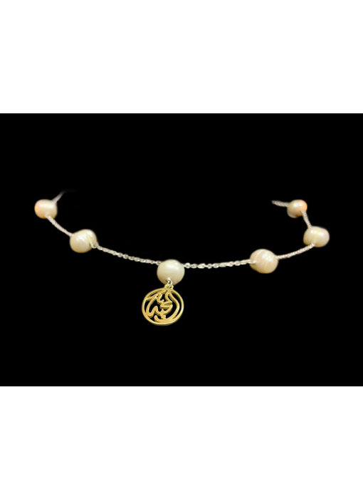 CHAIN NECKLACE WITH 7 PEARLS AND GP SALAM WORD