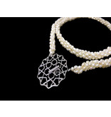 LONG CROCHET PEARL NECKLACE WITH CORDOBA SILVER CLASP