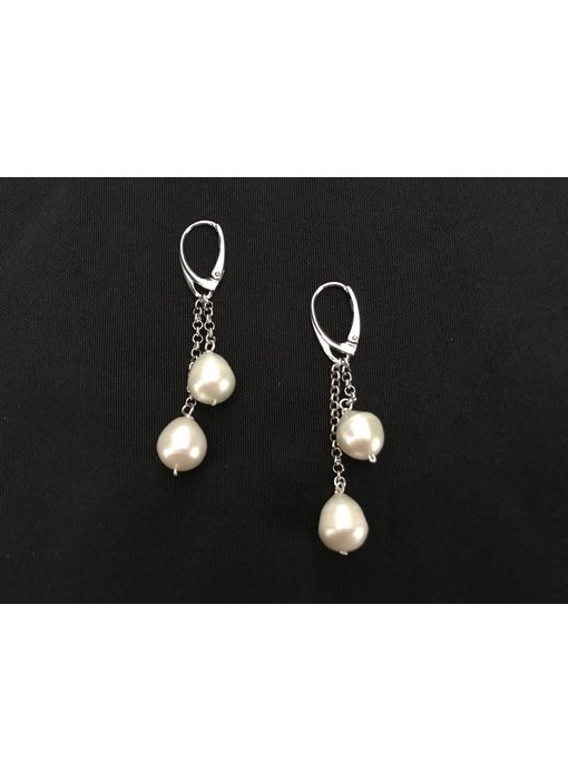 SILVER EARRINGS WITH FRENCH HOOK, CHAIN AND TWO PEARL DROPS