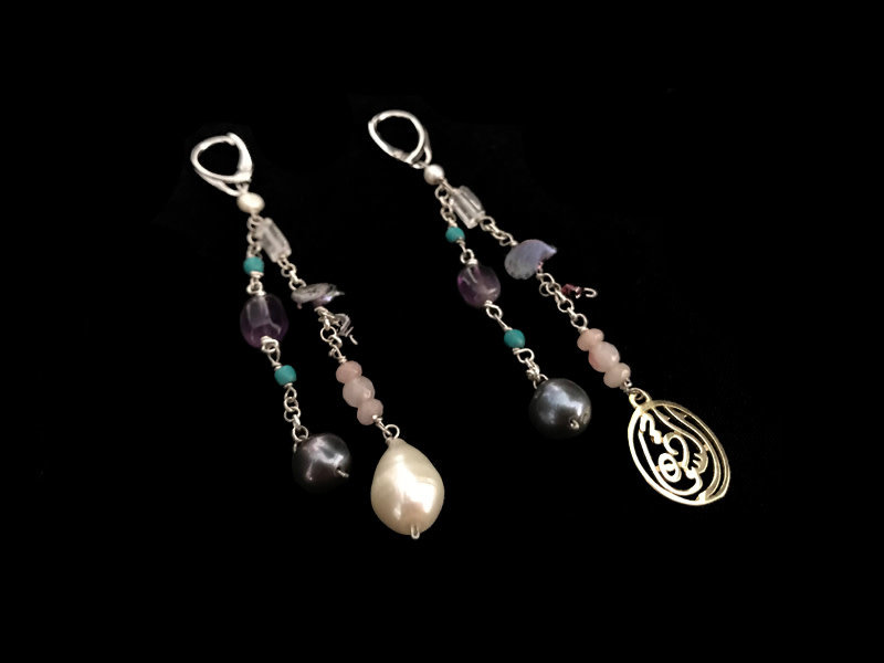 SHOWER EARRINGS WITH GEMSTONES AND ONE SALAM WORD