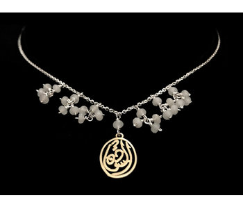 CHAIN NECKLACE WITH GEMSTONE DANGLES AND SALAM WORD GP