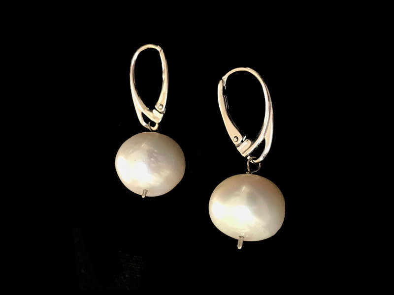 X LARGE PEARL EARRINGS WITH SILVER FRENCH HOOK