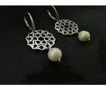 SILVER CORDOBA EARRINGS WITH STONE DROP
