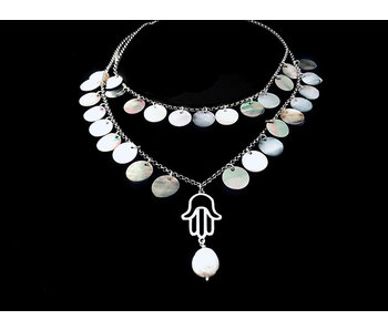 TWO ROW HAND OF FATIMA NECKLACE WITH MOTHER OF PEARL