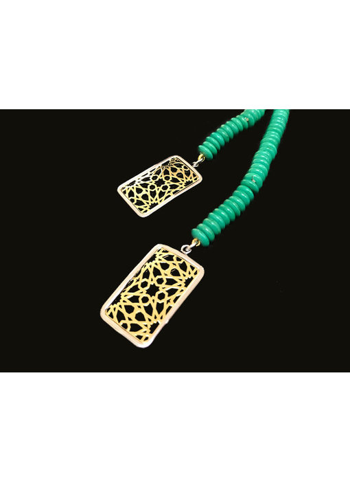 LONG TURQUOISE NECKLACE WITH GRANADA ENDINGS
