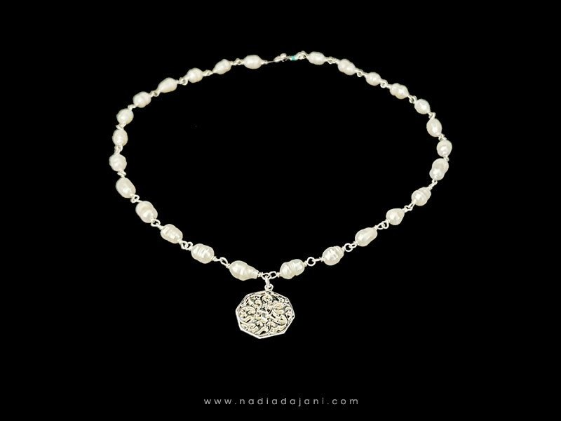 GEMSTONE NECKLACE WITH CAIRO PENDANT SILVER ON GP