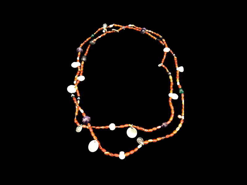 LONG BEAD NECKLACES WITH GEMSTONES & WORDS