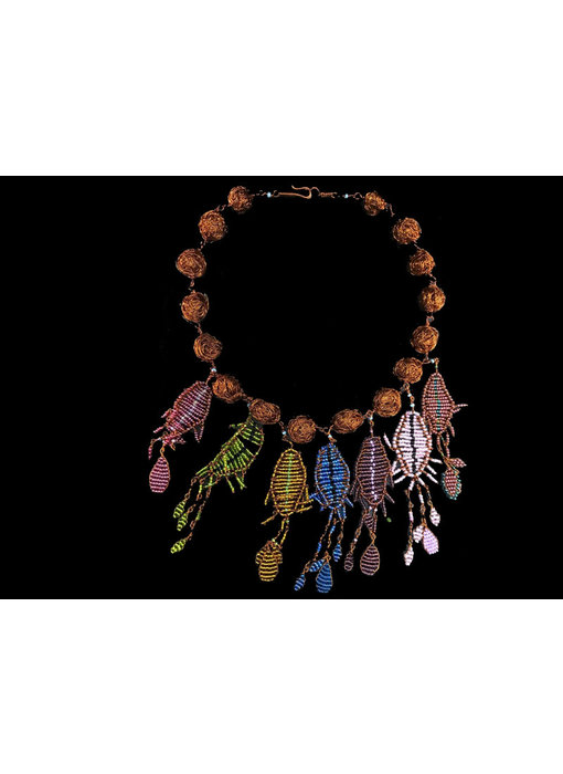 COPPER BEAD NECKLACE WITH FALLAHI PINE MOTIF PENDANTS
