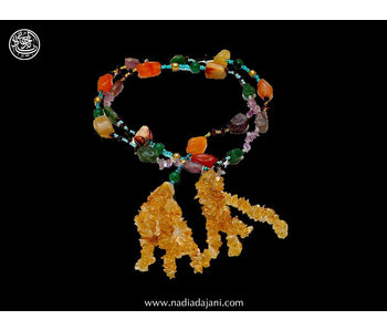 AGATE TIE NECKLACE WITH AGATE TASSELS