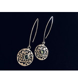 OVAL HOOK EARRINGS WITH ROUND MASHA'ALLAH AND STONE CABOCHON CENTRE