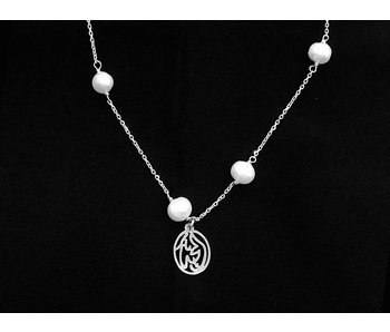 CHAIN NECKLACE WITH 5 STONES AND SALAM WORD