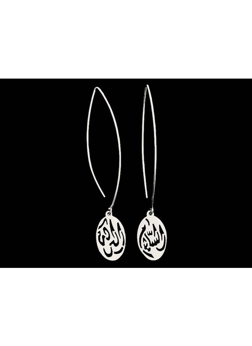 LONG OVAL HOOK EARRINGS WITH LARGE SALAM WORD
