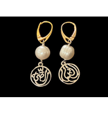 TWO TONE SALAM EARRINGS WITH FRENCH HOOK & STONE ABOVE