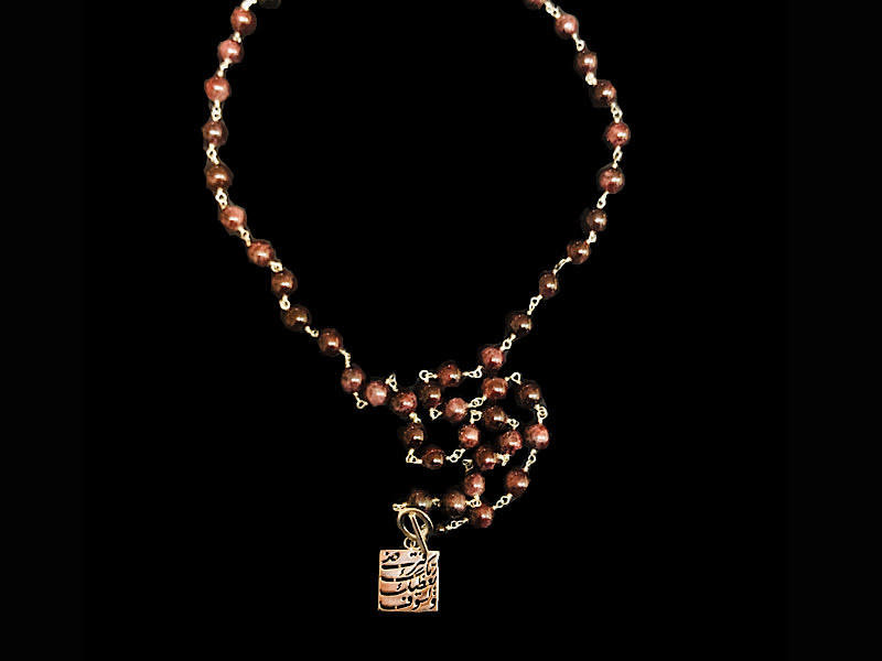 LONG STONE NECKLACE WITH SQUARE LISAWFA