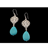 SMALL ARABESQUE SILVER EARRING WITH DROP PEARL